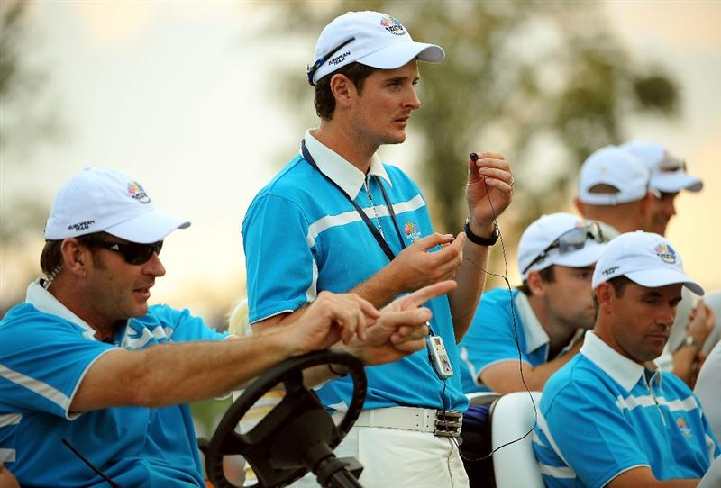 LOUISVILLE, KY - SEPTEMBER 20:  European team captain Nick Faldo waits with his players Justin Rose and Padraig Harrington during the afternoon four-ball matches on day two of the 2008 Ryder Cup at Valhalla Golf Club on September 20, 2008 in Louisville, Kentucky.  (Photo by Sam Greenwood/Getty Images)
