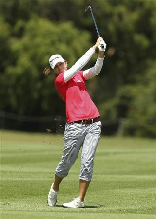 MELBOURNE, AUSTRALIA - FEBRUARY 06:  Nikki Garrett of Australia plays a shot during day four of the Women's Australian Open at The Commonwealth Golf Club on February 6, 2011 in Melbourne, Australia.  (Photo by Lucas Dawson/Getty Images)