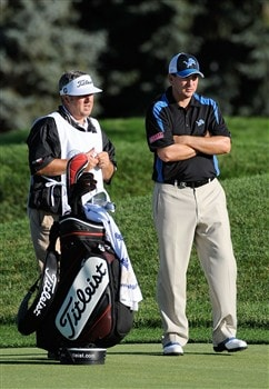 BLOOMFIELD HILLS, MI - AUGUST 08:  Ben Curtis (R) stands alongside his caddie Andrew Sutton (L) on the second fairway during round two of the 90th PGA Championship at Oakland Hills Country Club on August 8, 2008 in Bloomfield Township, Michigan.  (Photo by Sam Greenwood/Getty Images)