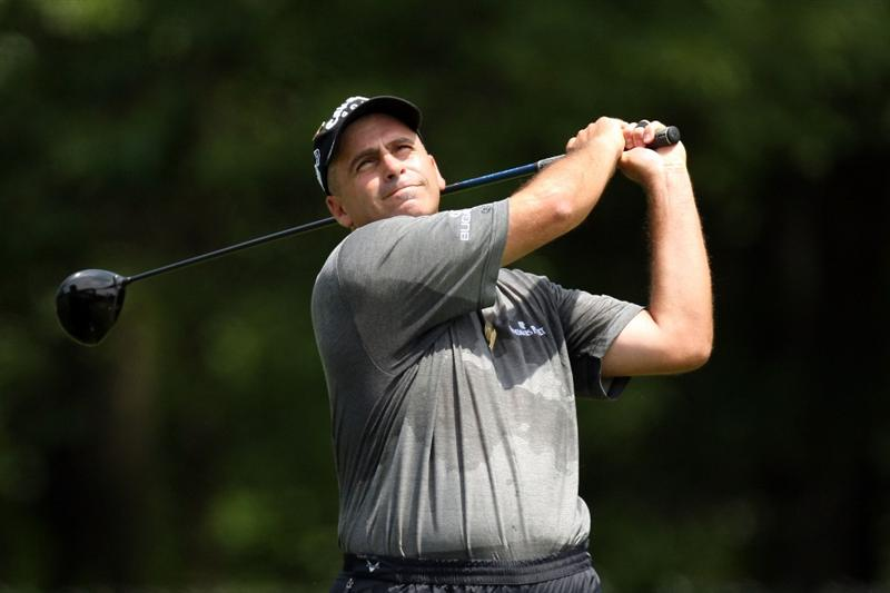 FARMINGDALE, NY - JUNE 19:  Rocco Mediate watches a tee shot during the continuation of the first round of the 109th U.S. Open on the Black Course at Bethpage State Park on June 19, 2009 in Farmingdale, New York.  (Photo by Ross Kinnaird/Getty Images)