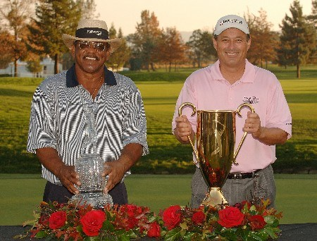 SONOMA, CA - OCTOBER 28:  Jim Thorpe  (L) and Lorren Roberts (R) with the Charles Schwab Cup Championship Cup and the Charles Schwab Cup during the fourth and final round of the Charles Schwab Championship Cup on October 28, 2007 at the Sonoma Golf Club in Sonoma California.  (Photo by Marc Feldman/Getty Images)