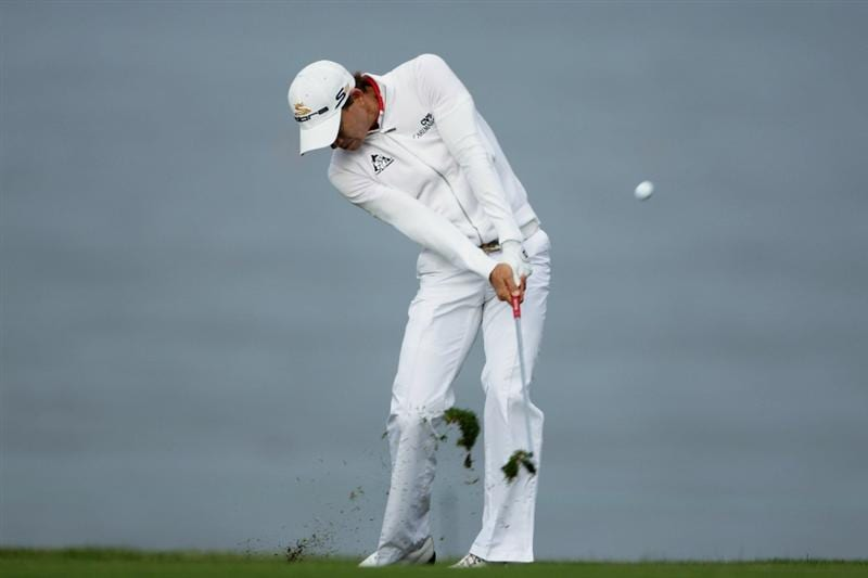 PEBBLE BEACH, CA - JUNE 17:  PEBBLE BEACH, CA - JUNE Camilo Villegas of Colombia hits his second shot on the 11th hole during the first round of the 110th U.S. Open at Pebble Beach Golf Links on June 17, 2010 in Pebble Beach, California.  (Photo by Andrew Redington/Getty Images)