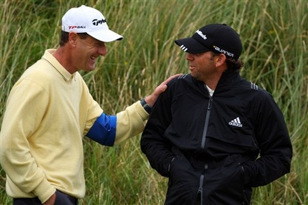SOUTHPORT, UNITED KINGDOM - JULY 16:  Sergio Garcia of Spain chats with short game coach Mark Roe during the third practice round of the 137th Open Championship on July 16, 2008 at Royal Birkdale Golf Club, Southport, England.  (Photo by Stuart Franklin/Getty Images)