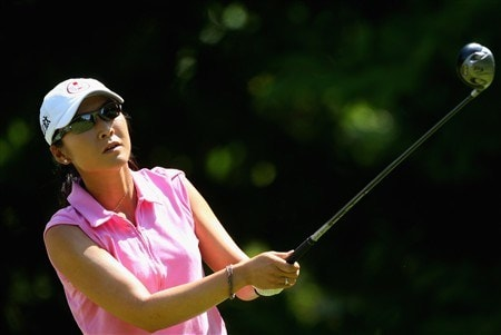 EVIAN, FRANCE - JULY 27:  Candie Kung of Taiwan hits her tee-shot on the fifth hole during the final round of the Evian Masters at the Evian Masters Golf Club on July 27, 2008 in Evian, France.  (Photo by Andrew Redington/Getty Images)
