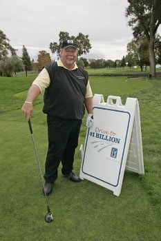 Craig Stadler poses with the persimmon driver used to promote the 'Drive To A Billion' campaign Wednesday October 26, during the 2005 Schwab Cup Championship at Sonoma Golf Club - Sonoma, California.Photo by Chris Condon/PGA TOUR/WireImage.com