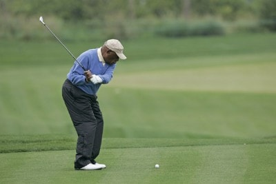 Charlie Sifford competes in the Demaret competition during the Liberty Mutual Legends of Golf at Westin Savannah Harbor Golf Resort & Spa in Savannah, Georgia, on April 18, 2006.Photo by: Chris Condon/PGA TOUR