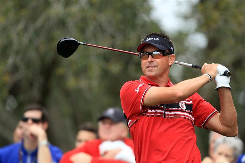 ORLANDO, FL - MARCH 22:  Robert Allenby of Australia and the Isleworth Team plays his tee shot at the 6th hole during the first day's play in the 2010 Tavistock Cup, at the Isleworth Golf and Country Club on March 22, 2010 in Orlando, Florida.  (Photo by David Cannon/Getty Images)