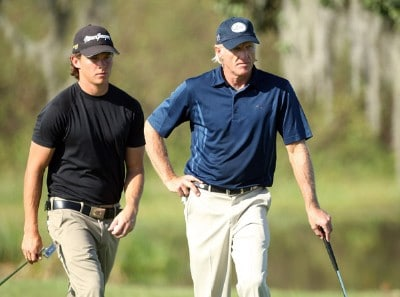 Gregory Norman and his father Greg Norman of Australia play the 5th green during the final round of the 2007 Del Webb Father Son Challenge on the International Course at Champions Gate Golf Club, on December 2, 2007 in Champions Gate, Florida, Champions Tour - Del Webb Father-Son Challenge - Final RoundPhoto by David Cannon/WireImage.com