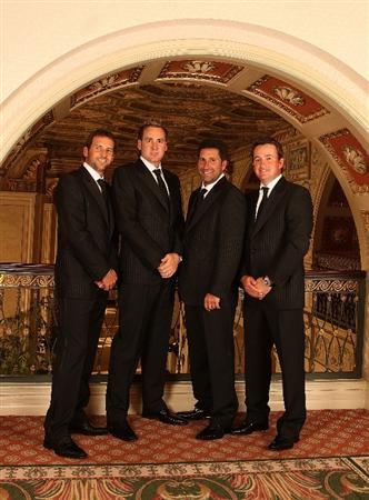 LOUISVILLE, KY - SEPTEMBER 17:  (L-R) Sergio Garcia of Spain, Ian Poulter of England, Jose Maria Olazabal of Spain and Graeme McDowell of Northern Ireland, all of the European Ryder Cup team, pose at the Brown Hotel prior to the start of the 2008 Ryder Cup September 17, 2008 in Louisville, Kentucky. (Photo by David Cannon/Getty Images)