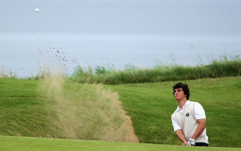 ST. ANDREWS, UNITED KINGDOM - AUGUST 30:  Emilio Cuartero of the Continent of Europe plays out of the second greenside bunker during the foursomes matches of The Jacques Leglise Trophy 2008 between Great Britain & Ireland and the Continent of Europe, held at Kingsbarns Golf Club, on August 29, 2008. in Fife, Scotland.  (Photo by Warren Little/Getty Images)