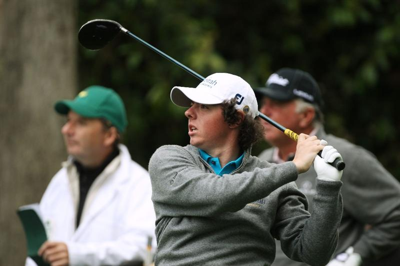AUGUSTA, GA - APRIL 07:  Rory McIlroy of Northern Ireland watches a shot as Mark O'Meara looks on during a practice round prior to the 2009 Masters Tournament at Augusta National Golf Club on April 7, 2009 in Augusta, Georgia.  (Photo by David Cannon/Getty Images)
