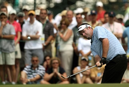 OAKMONT, PA - JUNE 16:  Kenneth Ferrie of England hits his second shot on the first hole during the third round of the 107th U.S. Open Championship at Oakmont Country Club on June 16, 2007 in Oakmont, Pennsylvania.  (Photo by David Cannon/Getty Images)