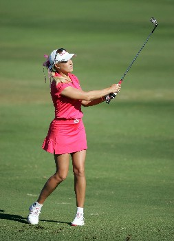 KAPOLEI, HI - FEBRUARY 21:  Natalie Gulbis hits her third shot on the 13th hole during the first round of  the Fields Open on February 21, 2008  at the Ko Olina Golf Club in Kapolei, Hawaii.  (Photo by Andy Lyons/Getty Images)