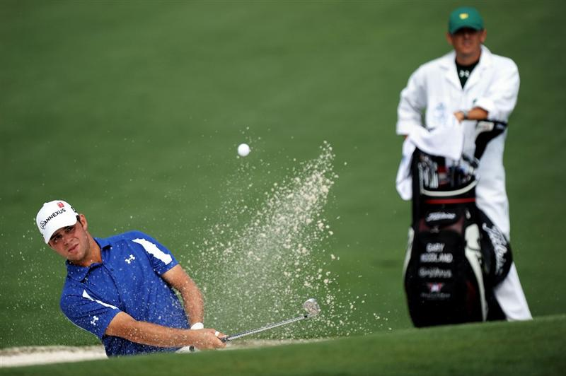 AUGUSTA, GA - APRIL 08:  Gary Woodland hits from a bunker on the second hole during the second round of the 2011 Masters Tournament at Augusta National Golf Club on April 8, 2011 in Augusta, Georgia.  (Photo by Harry How/Getty Images)