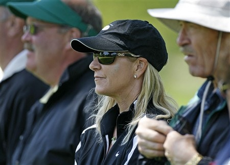 ROCHESTER, NY - MAY 24: Chrissy Everett watches fiancee Greg Norman play the 4th hole during the third round of the 69th Senior PGA Championship at Oak Hill Country Club - East Course on May 24, 2008 in Rochester, New York. (Photo by Hunter Martin/Getty Images)