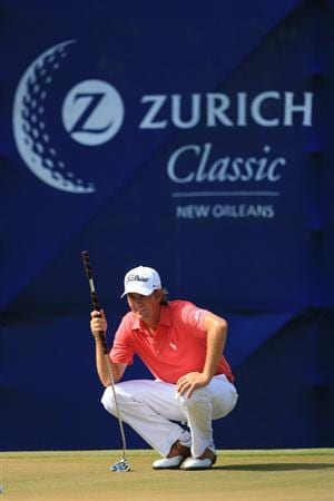 NEW ORLEANS, LA - MAY 1: Webb Simpson lines up his birdie putt on the 15th hole during the final round of the Zurich Classic at the TPC Louisiana on May 1, 2011 in New Orleans, Louisiana. (Photo by Hunter Martin/Getty Images)