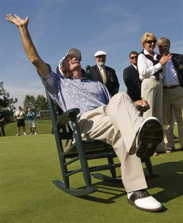 CONOVER, NC - SEPTEMBER 14:  R.W. Eaks celebrates on the winner's rocking chair after winning the Greater Hickory Classic at Rock Barn on September 14, 2008 in Conover, North Carolina. (Photo by Chris Keane/Getty Images)