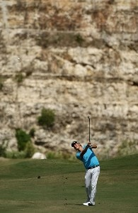Fredrik Jacobson hits his second shot on the 7th hole during the third round of the Valero Texas Open at La Cantera Golf Club on October 6, 2007 in San Antonio, Texas. PGA TOUR - 2007 Valero Texas Open - Third RoundPhoto by Jonathan Ferrey/WireImage.com