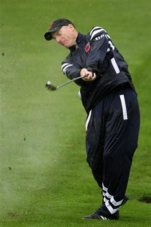 NEWPORT, WALES - SEPTEMBER 29:  Jim Furyk of the USA hits a shot during a practice round prior to the 2010 Ryder Cup at the Celtic Manor Resort on September 29, 2010 in Newport, Wales.  (Photo by Jamie Squire/Getty Images)