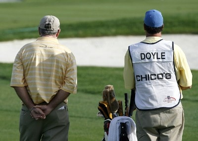 Allen Doyle talks with his caddie before his third shot in the 18th fairway during the second round of the 2007 ACE Group Classic Saturday, February 24, 2007, at Quail West in Naples, Florida. Champions Tour - The 2007 ACE Group Classic - Second RoundPhoto by Kevin C.  Cox/WireImage.com