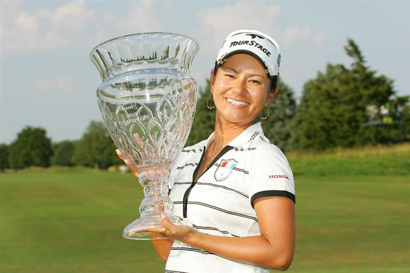 GALLOWAY, NJ - JUNE 20:  Ai Miyazato of Japan holds the trophy after winning the ShopRite LPGA Classic held at Dolce Seaview Resort (Bay Course) on June 20, 2010 in Galloway, New Jersey.  (Photo by Michael Cohen/Getty Images)