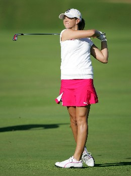 KAHUKU, HI - FEBRUARY 15:  Erica Blasberg hits her second shot on the second hole during the second round of the SBS Open at the Turtle Bay Resort February 15, 2008 in Kahuku, Hawaii.  (Photo by Andy Lyons/Getty Images)