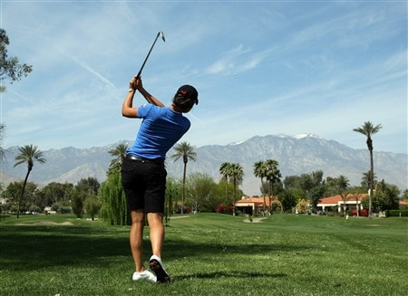 RANCHO MIRAGE, CA - APRIL 01:  Lorena Ochoa of Mexico plays her second shot to the 9th green on the Arnold Palmer Course during the pro-am preview for the Kraft Nabisco Championship at the Mission Hills Country Club, on April 1, 2008 in Rancho Mirage, California.  (Photo by David Cannon/Getty Images)