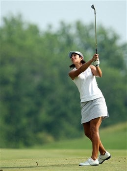 HAVRE DE GRACE, MD - JUNE 08: Laura Diaz of the U.S. plays her second shot at the 14th hole during the final round of the 2008 McDonald's LPGA Championship held at Bulle Rock Golf Course, on June 8, 2008 in Havre de Grace, Maryland. (Photo by David Cannon/Getty Images)
