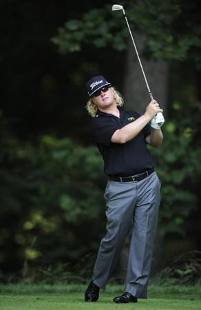 BETHESDA, MD - JULY 03:  Charley Hoffman hits his tee shot on the 13th hole during the second round of the AT&T National at the Congressional Country Club on July 3, 2009 in Bethesda, Maryland  (Photo by Mitchell Layton/Getty Images)