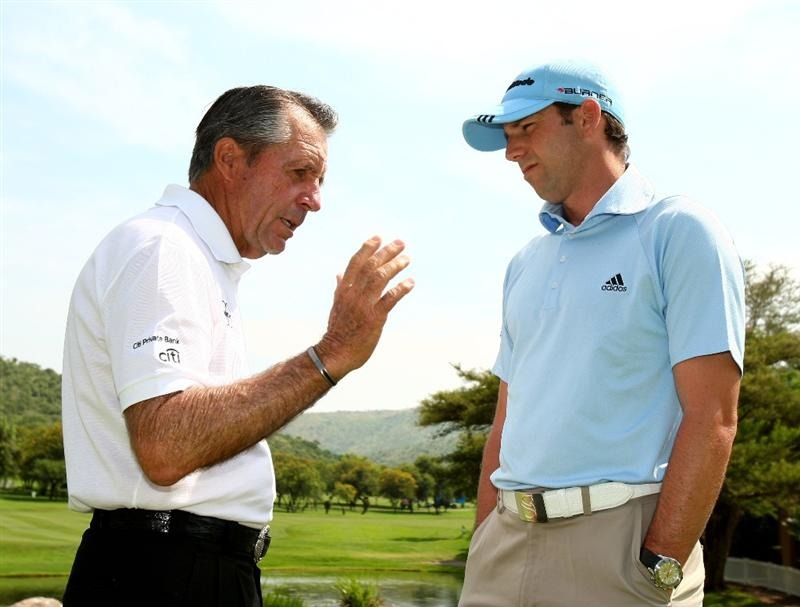 SUN CITY, SOUTH AFRICA - DECEMBER 03:  Gary Player of South Africa and Sergio Garcia of Spain talk about Seve during the pro-am for the Nedbank Golf Challenge at the Gary Player Country Club on December 3, 2008 in Sun City, South Africa. Seve Ballesteros has undergone a fourth operation on his brain since being taken ill in Madrid in October.  (Photo by Richard Heathcote/Getty Images)