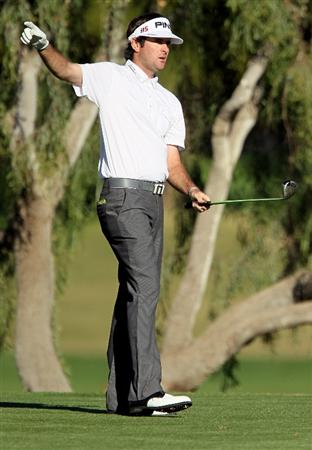 LA QUINTA, CA - JANUARY 24:  Bubba Watson gestures after hitting his tee shot on the 14th hole during the fourth round of the Bob Hope Classic at the Nicklaus Private course at PGA West on January 24, 2010 in La Quinta, California.  (Photo by Jeff Gross/Getty Images)