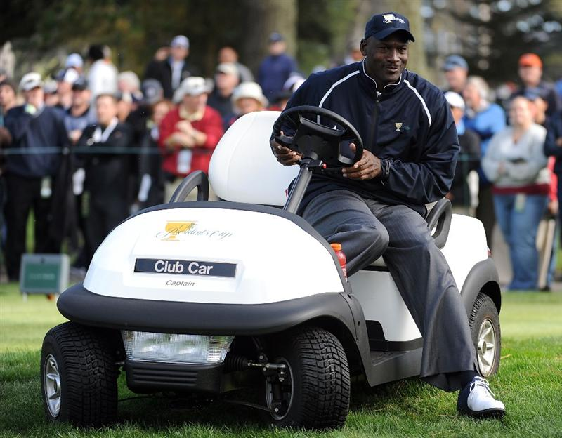 SAN FRANCISCO - OCTOBER 08:  Team Assistant Michael Jordan of the USA Team waits on a tee box during the Day One Foursome Matches of The Presidents Cup at Harding Park Golf Course on October 8, 2009 in San Francisco, California.  (Photo by Harry How/Getty Images)