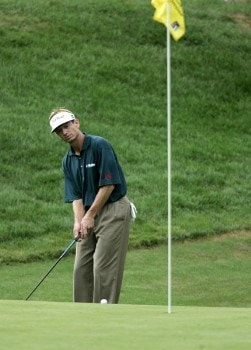Brad Faxon putts for birdie on the 18th hole in regulation during the fourth round of the Buick Championship at the Tournament Players Club at River Highlands in Cromwell, Connecticut on August 28, 2005.Photo by Michael Cohen/WireImage.com