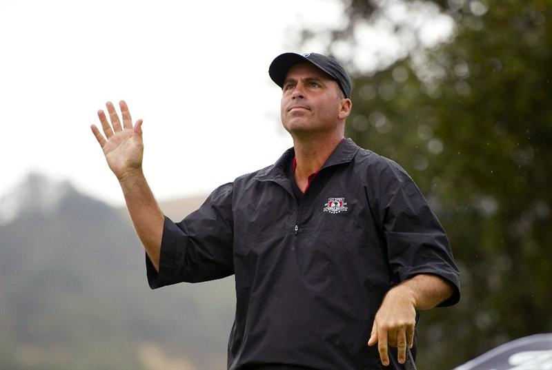 SAN MARTIN, CA - OCTOBER 17:  Rocco Mediate waves to the crowd after making a tee shot on the second hole during the final round of the Frys.com Open at the CordeValle Golf Club on October 17, 2010 in San Martin, California.  (Photo by Robert Laberge/Getty Images)