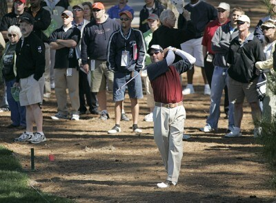 Rich Beem hitting from the second fairway rough during the third round of THE PLAYERS Championship held at the TPC Stadium Course in Ponte Vedra Beach, Florida on March 25, 2006.Photo by Chris Condon/PGA TOUR/WireImage.com