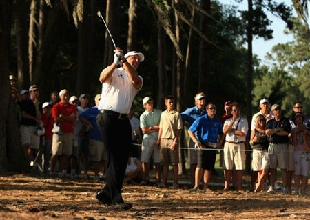 PONTE VEDRA BEACH, FL - MAY 09:  Phil Mickelson plays from the pine straw and trees on the 16th during the second round of THE PLAYERS Championship on THE PLAYERS Stadium Course at TPC Sawgrass on May 9, 2008 in Ponte Vedra Beach, Florida.  (Photo by Richard Heathcote/Getty Images)