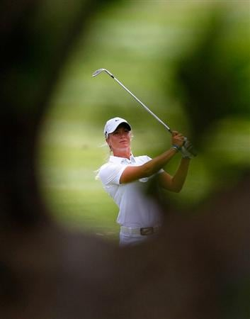 MONTEGO BAY, JAMAICA - APRIL 15:  Suzann Pettersen of Norway plays her second shot from the first fairway during the second round of The Mojo 6 Jamaica LPGA Invitational at Cinnamon Hill Golf Course on April 15, 2010 in Montego Bay, Jamaica.  (Photo by Kevin C. Cox/Getty Images)