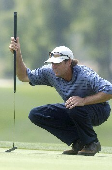 Paul Azinger lines up his putt for birdie on the 14th during the second  round of the Shell Houston Open, Friday, April 22, 2005 at the Redstone Golf Club, Humbele, TexasPhoto by Marc Feldman/WireImage.com