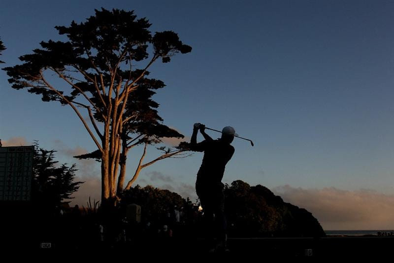 PEBBLE BEACH, CA - JUNE 19:  Dustin Johnson watches his tee shot on the 17th hole during the third round of the 110th U.S. Open at Pebble Beach Golf Links on June 19, 2010 in Pebble Beach, California.  (Photo by Ross Kinnaird/Getty Images)