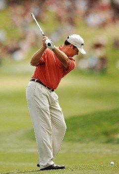 Ted Purdy hits from the seventh fairway during the final round of the 2005 EDS Byron Nelson Championship at TPC Los Colinas in Los Colinas, Texas May 15, 2005.Photo by Steve Grayson/WireImage.com