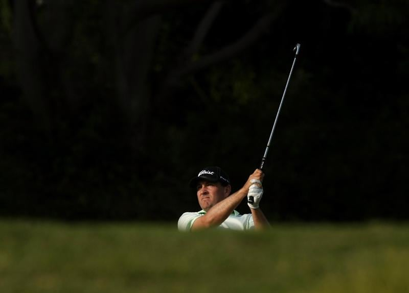 PACIFIC PALISADES, CA - FEBRUARY 20:  Ben Curtis hits his approach shot on the fifth hole during the second round of the Northern Trust Open on February 20, 2009 at Riviera Country Club in Pacific Palisades. California.  (Photo by Stephen Dunn/Getty Images)