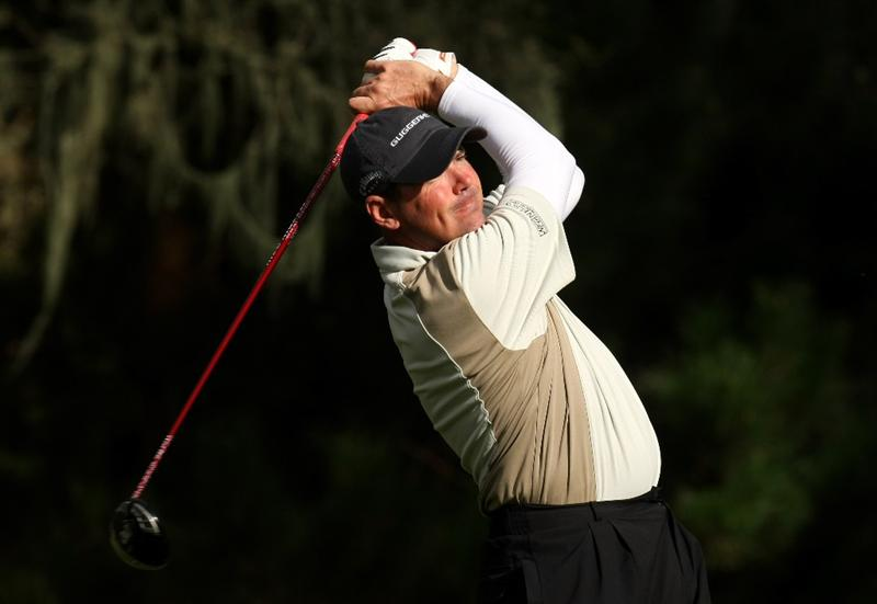 PEBBLE BEACH, CA - FEBRUARY 13: Rich Beem hits his tee shot on the eighth hole at Spyglass Hill Golf Course during the second round of the AT&T Pebble Beach National Pro-Am on February 13, 2009 in Pebble Beach, California. (Photo by Stephen Dunn/Getty Images)