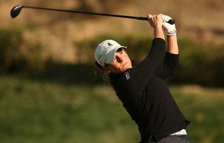 HUIXQUILUCAN, MEXICO - MARCH 15:  Liz Janangelo of the USA hits hee tee shot on the fifth hole during the second round of the MasterCard Classic at Bosque Real Country Club on March 15, 2008 in Huixquilucan, Mexico.  (Photo by Scott Halleran/Getty Images)