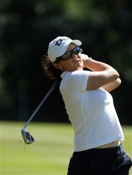 SUNNINGDALE, UNITED KINGDOM - JULY 30:  Rachel Hetherington of Australia hits her second shot to the 17th hole during the final day of practice for the 2008  Ricoh Women's British Open Championship held on the Old Course at Sunningdale Golf Club, on July 30, 2008 in Sunningdale, England.  (Photo by David Cannon/Getty Images)