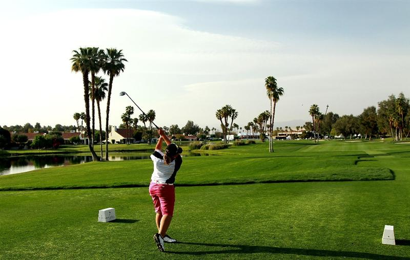 RANCHO MIRAGE, CA - APRIL 03:  Karen Stupples of England plays her tee shot at the 18th hole during the third round of the 2010 Kraft Nabisco Championship, on the Dinah Shore Course at The Mission Hills Country Club, on April 3, 2010 in Rancho Mirage, California.  (Photo by David Cannon/Getty Images)