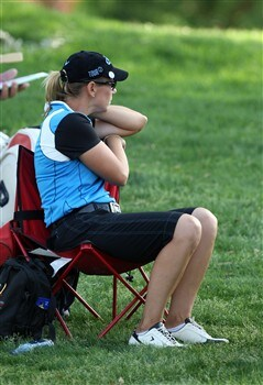 RANCHO MIRAGE, CA - APRIL 5:  Annika Sorenstam of Sweden sits beside the 15th tee before she hits her tee shot during the third round of the Kraft Nabisco Championship at the Mission Hills Country Club April 5, 2008 in Rancho Mirage, California.  (Photo by David Cannon/Getty Images)