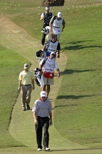 PGA TOUR golfers walk in procession to the 15th green  during the first round of the 2006 Chrysler Championship Oct. 26 in Palm Harbor, Fl. PGA TOUR - 2006 Chrysler Championship - First RoundPhoto by Al Messerschmidt/WireImage.com