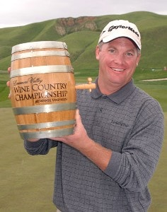 Tripp Isenhour holds the Wente Vineyards Winner's Trophy, a minature barrell of wine after his victory in the Nationwide's TOUR 2006 Livermore Valley Wine Country Championship at The Course at Wente Vineyards in Livermore, California April 2, 2006.Photo by Steve Grayson/WireImage.com