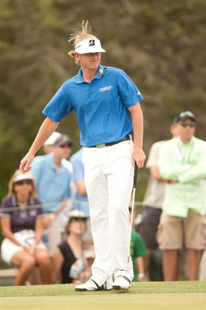 SAN ANTONIO, TX - APRIL 17: Brandt Snedeker reacts to a missed putt during the final round of the Valero Texas Open at the AT&T Oaks Course at TPC San Antonio on April 17, 2011 in San Antonio, Texas. (Photo by Darren Carroll/Getty Images)