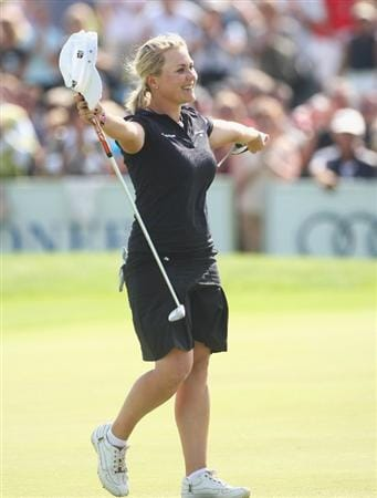 MUNICH, GERMANY - MAY 24:  Martina Eberl of Germany celebrates on the 18th hole during the final day of the HypoVereinsbank Ladies German Open 2009 at Gut Haeusern on May 24, 2009 in Munich, Germany.  (Photo by Alexander Hassenstein/Bongarts/Getty Images)